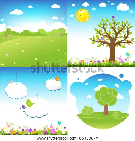 4 Set Cartoon Landscape, Vector Illustration - stock vector