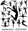 Set Dance girl ballet silhouettes vector - stock vector