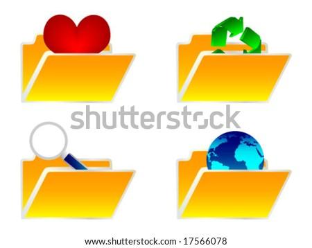 set folders - stock vector