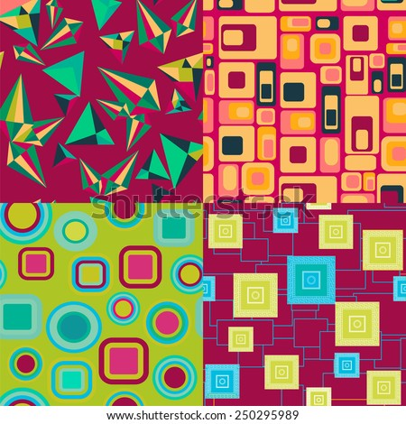 Set of abstract geometric elements pattern seamless background