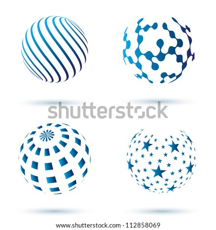 set of Abstract globe vector icons - stock vector