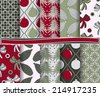set of abstract vector Christmas paper for scrapbook - stock