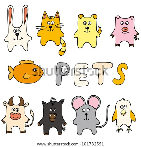 Set of animals including cat, dog, bird, pig, mouse, cow, horse, fish, rabbit - stock vector
