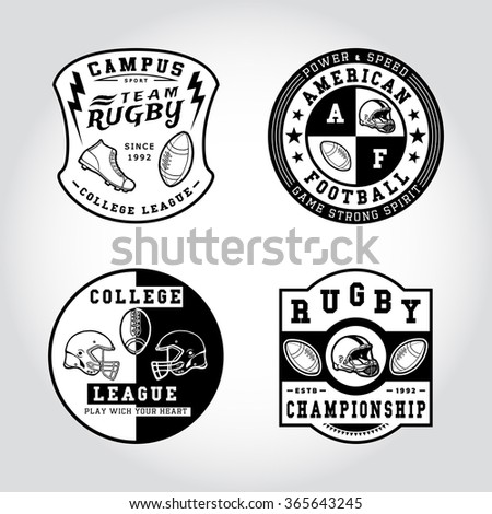 90 SET OF BADGE RUGBY. Handmade football ball, shoes, helmet retro style. Design fashion apparel texture print. T shirt graphic vintage grunge vector illustration badge label logo template.  - stock vector