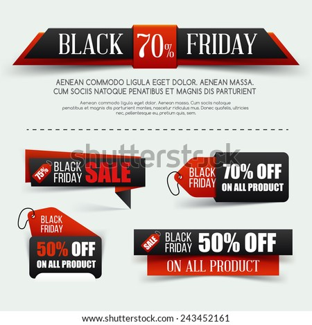 Set of Black friday sale. Vector illustration. Black paper banner. Grouped for easy editing. - stock vector
