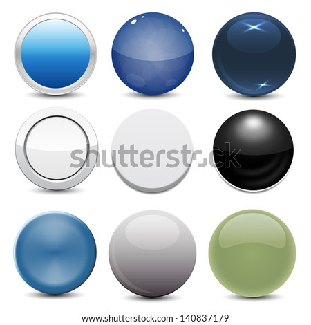Set of 9 Button Styles - stock vector