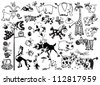 set of  cartoon animals,black and white vector pictures isolated on white background,children illustration for little kids - stock photo