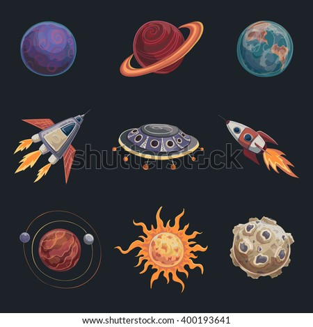 Set of color drawings in the style of cartoon on space. The planets , spacecraft , sun, rocket, alien ship - stock vector