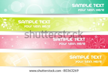 Set of colorful 468x60 banners with copyspace