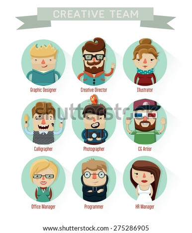 set of creative people, character design, professions, team, CG artist, programmer, photographer, creative director, office manager, HR manager, illustrator, calligrapher, graphic designer, vector - stock vector