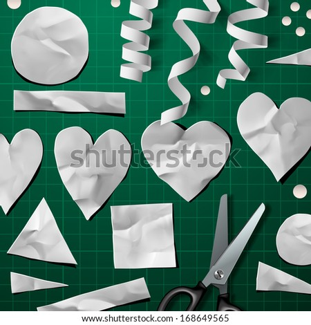 Set of decoration design elements for DIY Valentine's Day Party, vector illustration.