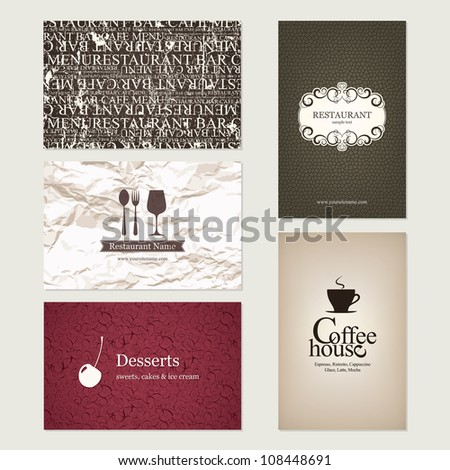 Set of 5 detailed business cards. For cafe and restaurant
