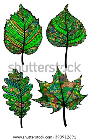 Set of four colorful zentangle leaves. Vector template for greeting cards, coloring books, art-therapy, anti-stress, textiles, fabrics, decorating. - stock vector