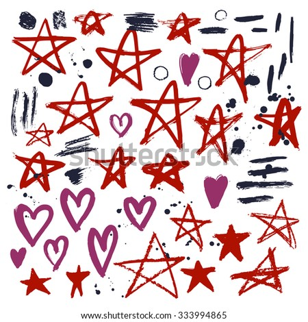 Set of hand drawn stars and hearts. Grungy elements. Brush strokes of pencil or pastel. Doodle with crayons.Vector illustration. - stock vector