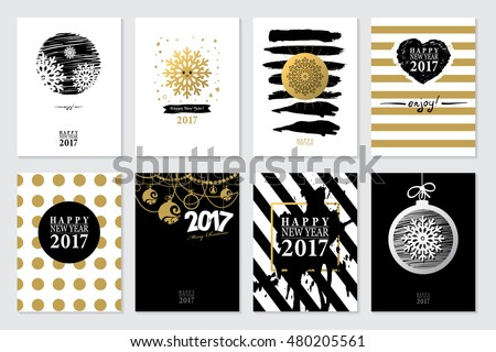 2017 Set of Happy New Year card or background. Trendy style with hand-lettering words. Vector illustration Black, white, gold colors design. Banner template for flat design.