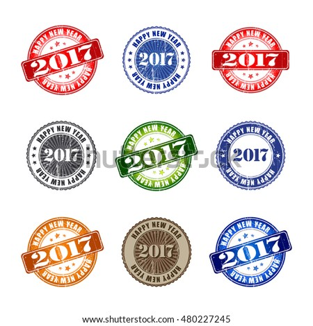 2017 Set of Happy New Year grunge rubber stamp.  Vector illustration