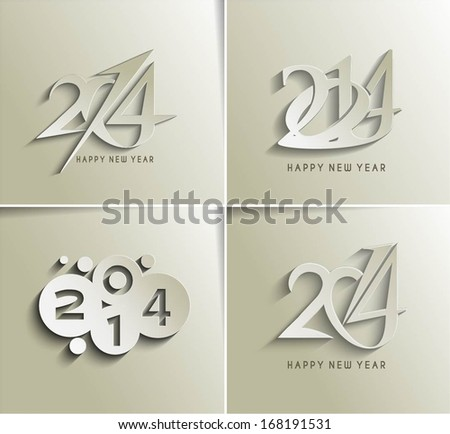 Set of Happy New Year 2014 Text Design  - stock vector