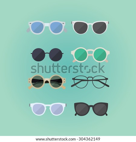 Set of hipster glasses flat elements. Stylish hipster glasses in modern and creative style. Woman web media element collection. - stock vector