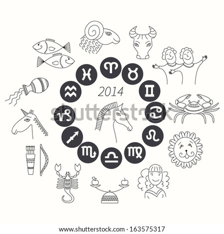 Set Horoscope Symbols Zodiac Signs On Stock Vector 163575317