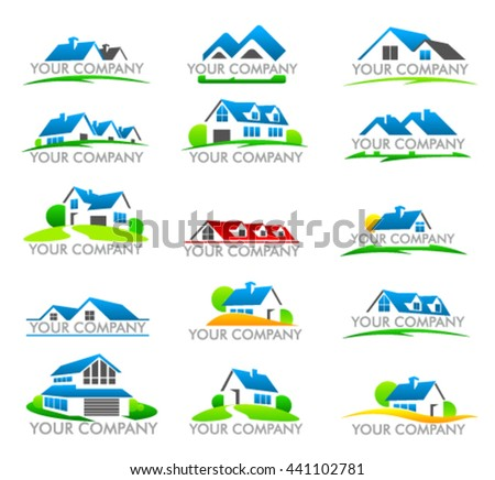Set of house logo. Logo for company trademark. Set of logos of the real estate.