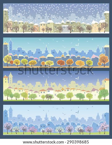 Set of illustrations with urban landscape. Different times of the year. Fall, winter, spring and summer. - stock vector
