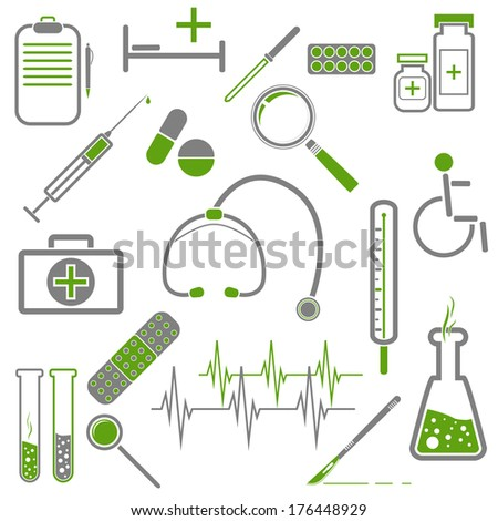 Set of medical icons with green and gray colors. - stock vector