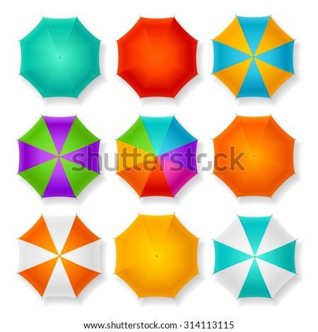 Set of Nine Different Umbrellas. Vector illustration - stock vector