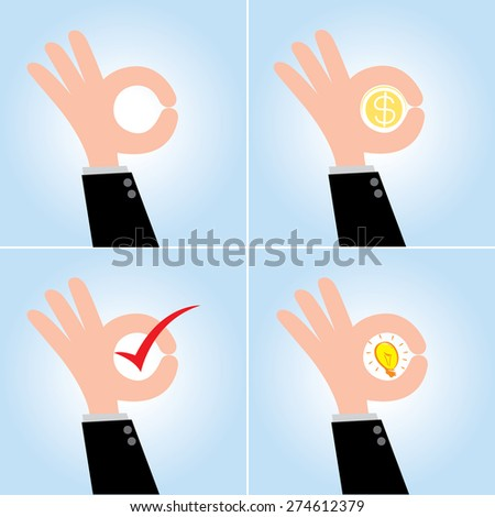 4 Set of  Okay Hand Sign, business concept, vector 10 - stock vector