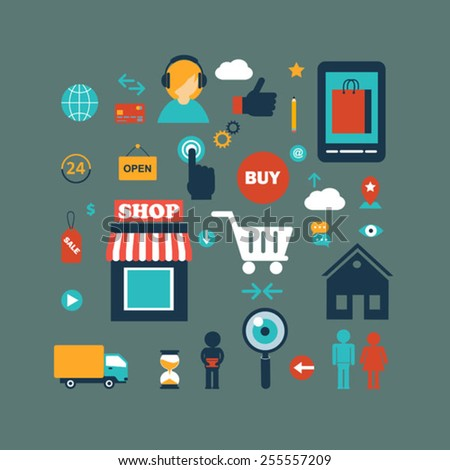 set of online shopping internet  infographic elements vector flat icons - stock vector