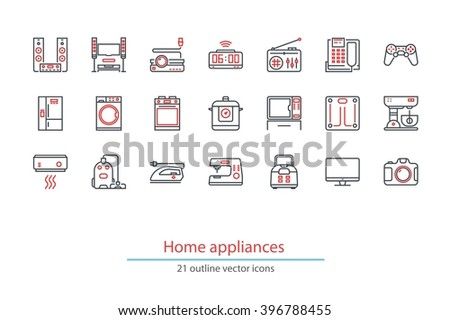 Set of outline home appliances icons. Black and red colors. - stock vector