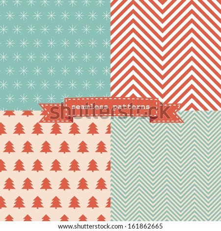 Set of simple retro Christmas patterns - stock vector