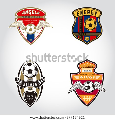 SET OF SOCCER BADGE LOGO . Handmade football ball. Sport Team identity vector illustrations isolated on white background. Collection of t shirt graphics. Design templates fashion apparel print. - stock vector