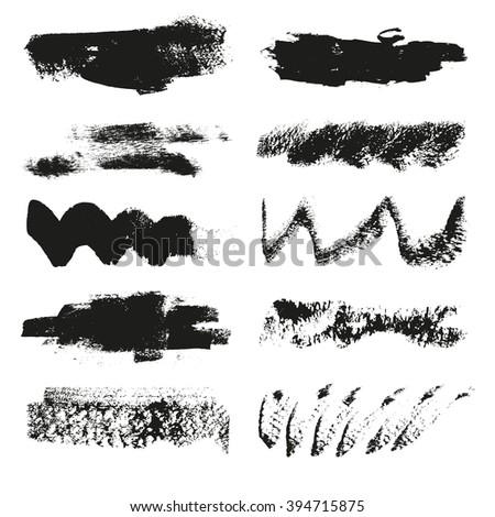 Set of splash and spot grunge banners vector illustration - stock vector
