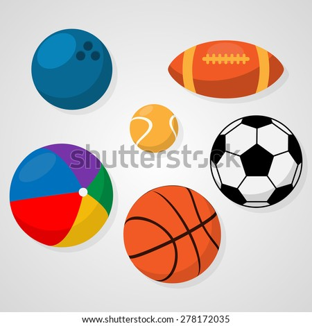 Set of sport balls on white background soccer or football, basketball, rugby, tennis, bowling, beach ball. Healthy recreation, leisure. Activities for team and individual playing Vector illustration - stock vector