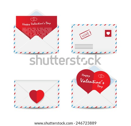 Set of Valentine's Day envelopes with paper red hearts isolated on white background. Vector illustration. - stock vector