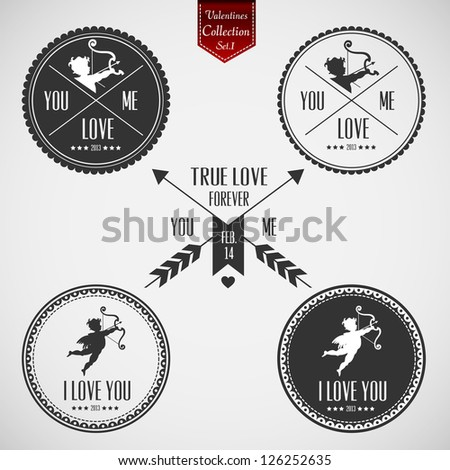 Set of Valentines Day  Labels with clean retro vintage design - stock vector