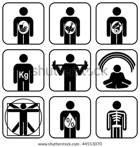 set of vector icons. Diet and healthy lifestyle