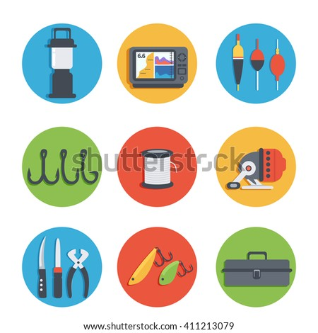 Set of vector icons of fishing equipment. Vector illustration.