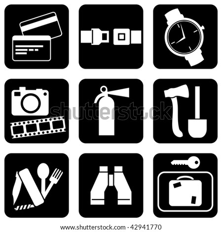 set of vector icons to travel and activities theme - stock vector