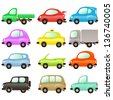 Set of vector illustrations: funny and colored vector cars on white - stock vector
