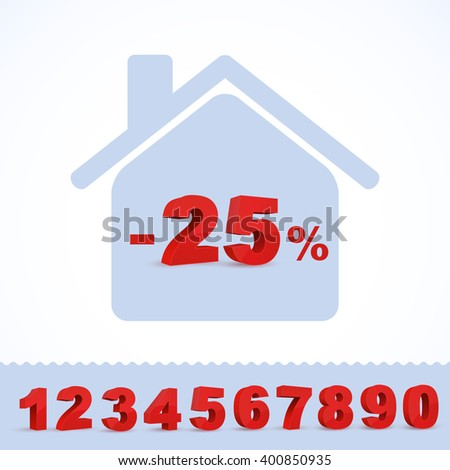 Set of vector numbers with house. - stock vector
