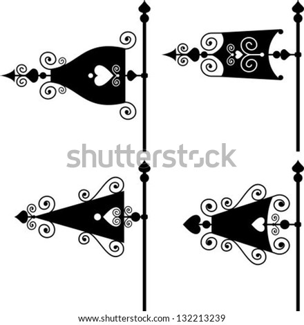 set of vector silhouettes of weather vanes - stock vector