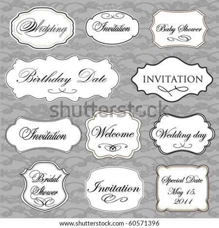 Set of vector vintage frames with lace background - stock vector