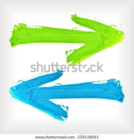 Set of watercolor arrows. Watercolor arrow collection. Bright colorful pointers. EPS10 vector abstract elements.  - stock vector