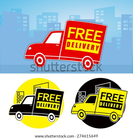 3 Set of web icon free delivery (truck) - stock vector