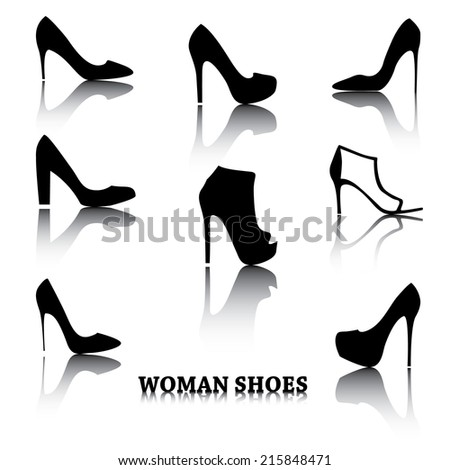 Set of woman shoes silhouettes with reflections.  Black female fashion icons isolated on white. Vector illustration. - stock vector