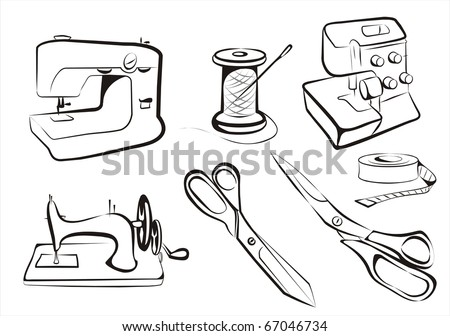 set sewing  machines overlock scissors and textil production concept - stock vector