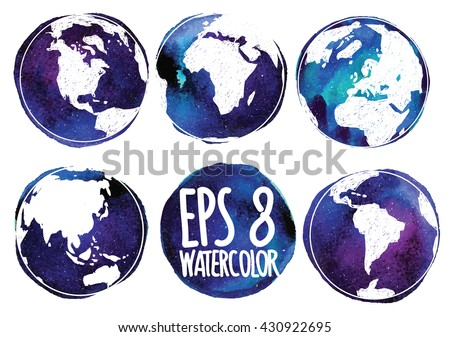 Set the continents of the planet Earth . Earth from different angles . Vector freehand drawing on watercolor background texture . - stock vector