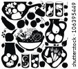 set with abstract food stickers - vector black silhouettes. - stock vector