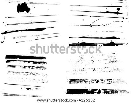4 Sets of grunge strips (Isolated Vectors and on separate layers)  Background is transparent so they can be overlayed on other Illustrations or Images. Ideal elements - stock vector